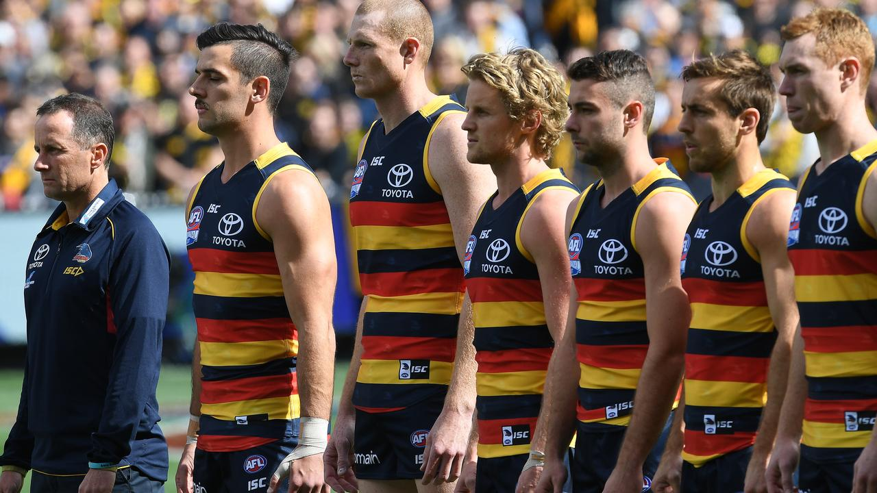 Don Pyke and the Crows before the 2017 AFL grand final.