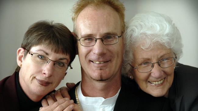 Andrew Mallard with his sister Jacqui Mallard and mother Grace Mallard. Picture: Stewart Allen