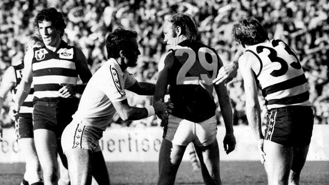 Kevin Bartlett has his number taken for the first time in his career, for allegedly striking Cat Bruce Nankervis.