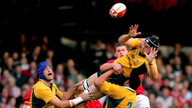 Australia's Dan Vickerman, top right, goes for the ball during a lineout during a Testl match against Wales at the Millennium Stadium in Cardiff, South Wales, Saturday Nov. 4, 2006. (AP Photo/Matt Dunham)