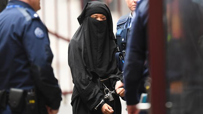 Momena Shoma arrives at the Supreme Court in Melbourne this morning.