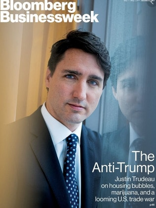 Donald Trump scrawled a message to Justin Trudeau on this cover. Picture: Bloomberg Businessweek