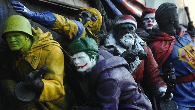The Joker makes an appearance in the monument. Picture: AFP