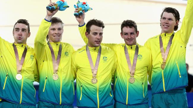Jordan Kerby, Sam Welsford, Kelland O'Brien, Leigh Howard and Alex Porter of Australia with their gold medals for the men's 4000m Team Pursuit. Picture: Getty Images