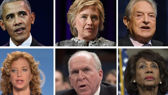 Barack Obama, former Secretary of State Hillary Clinton, George Soros, Democratic lawmaker Debbie Wasserman Schultz, former CIA director John Brennan, and California Democratic Representative Maxine Waters were also apparent recipients of suspect packages. Picture: AFP