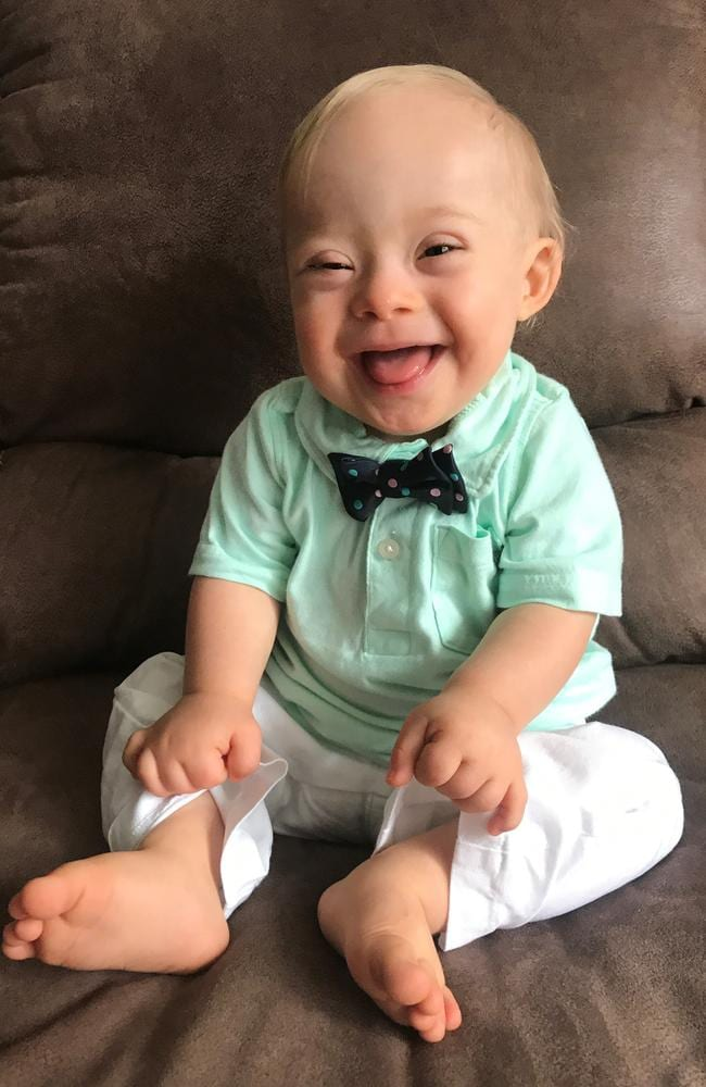 """Little Lucas Warren's contagious smile won over executives at Gerber baby food who have made him their """"spokesbaby"""" this year. Picture: Gerber via AP"""
