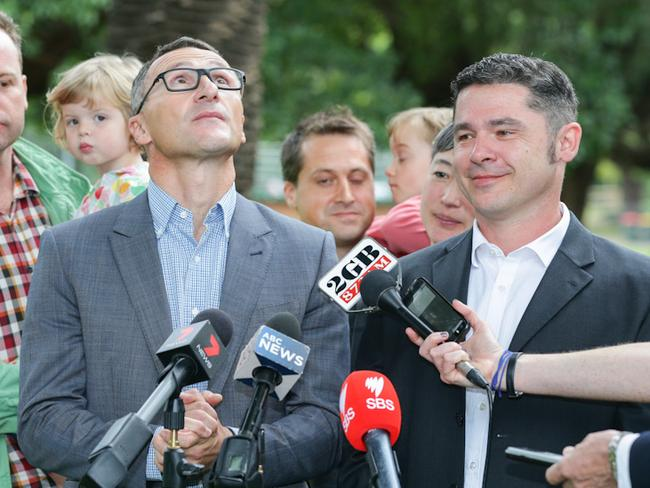 Australian Greens Leader Dr Richard Di Natale and Greens candidate for Grayndler Jim Casey / Picture: Renee Nowytarger