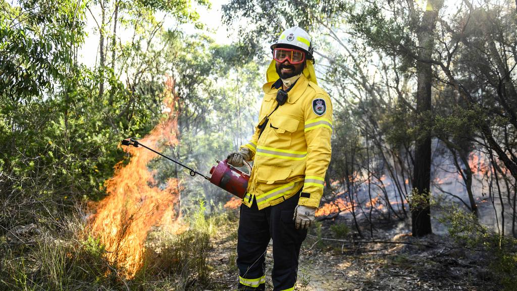 New NSW RFS member Issac Delix taking part in the Canoelands backburn. Picture: Darren Leigh Roberts