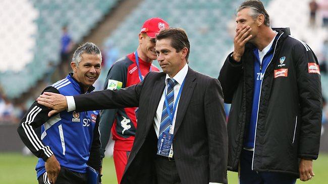 Sydney FC coach Frank Farina (centre) with caretaker coach Steve Corica (L). Picture: Phil Hillyard