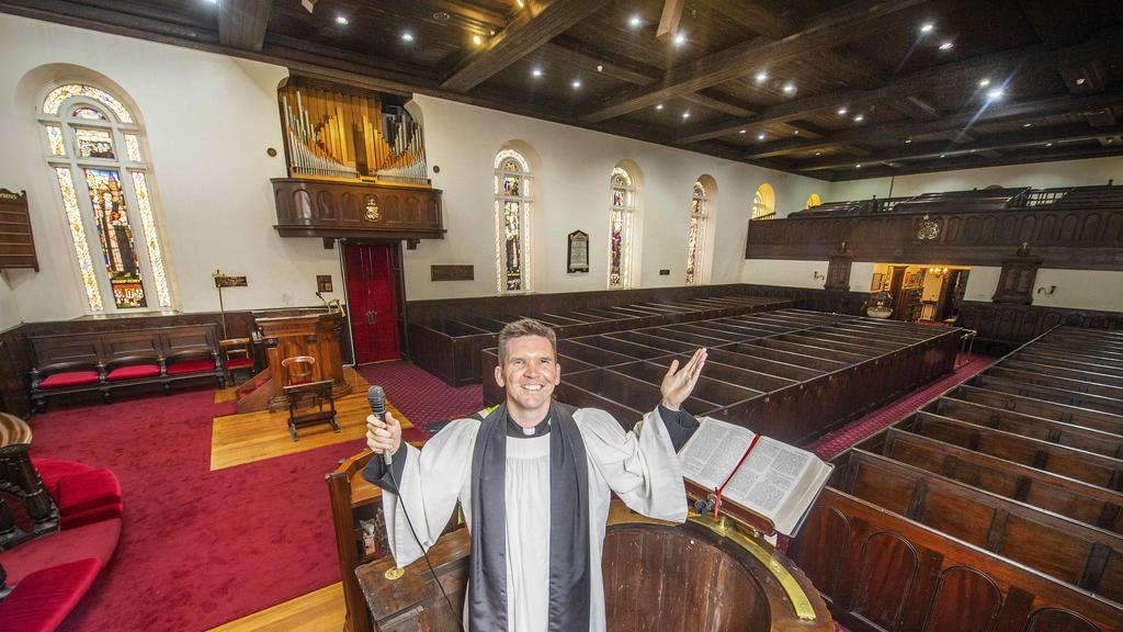 Vicar Matt Williams from St James Old Church delivered his Easter service online this morning.Picture: Rob Leeson.