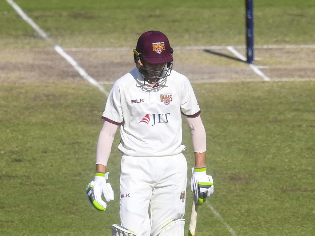 Marnus Labuschagne of the Bulls reacts after being caught behind during day 3 of the Round 4 JLT Sheffield Shield match between the New South Wales Blues and the Queensland Bulls at the Manuka Oval in Canberra, Sunday, November 18, 2018. (AAP Image/Lukas Coch) NO ARCHIVING, EDITORIAL USE ONLY, IMAGES TO BE USED FOR NEWS REPORTING PURPOSES ONLY, NO COMMERCIAL USE WHATSOEVER, NO USE IN BOOKS WITHOUT PRIOR WRITTEN CONSENT FROM AAP