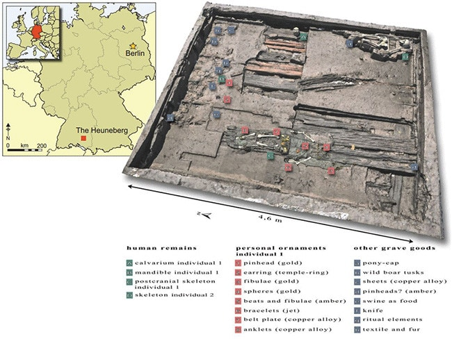 A view of the burial chamber created by laser scanners showing the location of the grave goods. Picture: Krausse et al