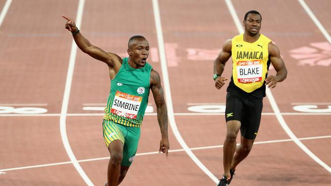 Yohan Blake finished well back in third place.