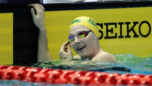 Cate Campbell celebrates winning the gold medal in the women's 100m freestyle final.