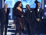 "Rihanna and Kendrick Lamar accept the award for best rap/sung performance for ""Loyalty"" at the 60th Annual GRAMMY Awards at Madison Square Garden on January 28, 2018 in New York City. Picture: AP"