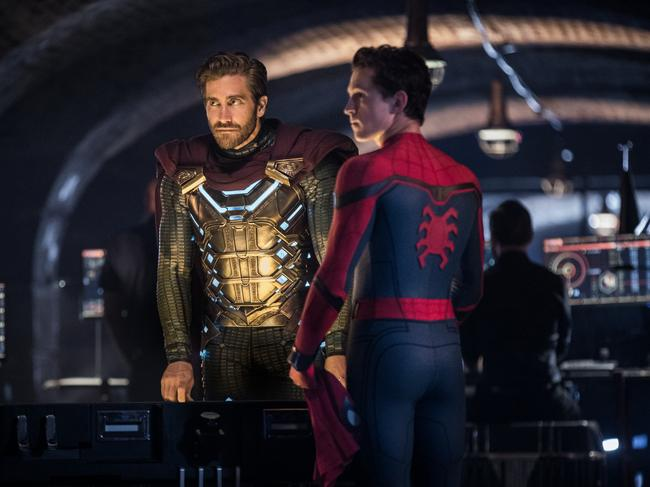 Jake Gyllenhaal and Tom Holland in a scene from Spider-Man Far From Home.