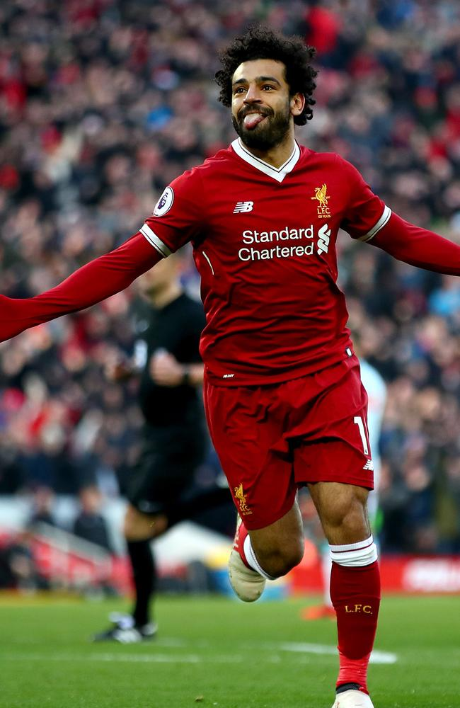 Mohamed Salah of Liverpool celebrates scoring his side's second goal.