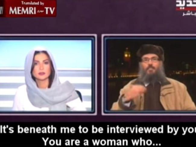 """Insults ... The disrespect shows towards Karaki reached its peak when cleric Hani Al Seba'i told her it was """"beneath"""" him to be interviewed by a woman. Picture: YouTube."""