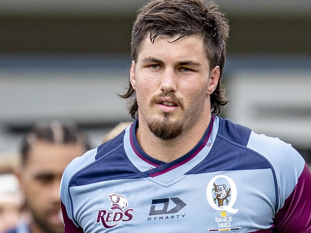 Queensland Reds captain Liam Wright at the team's trial match with the NSW Waratahs in Dalby. Picture: QRU / Brendan Hertel