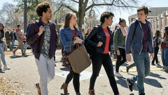 Walking into high school in Love, Simon. Photo: Fox