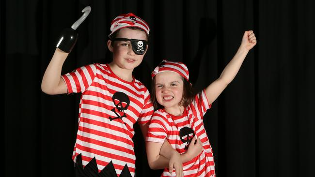 Xavier with his sister Luella at Hamra Centre Library, Hilton, ready to join the Pirate Party to celebrate the launch of book week. (AAP/Emma Brasier)