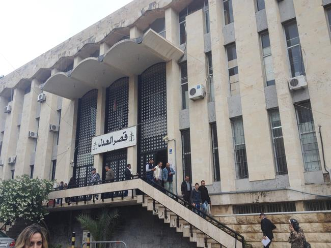 The facade of Beirut's Babda Palace of Justice, where the 60 Minutes crew and Brisbane mother Sally Faulkner will soon learn their fate.