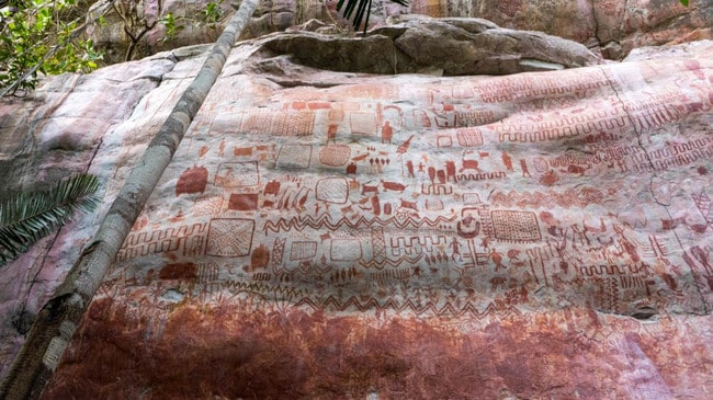 Some of the drawings, thought to be 12,500 years old, on a 13km-long stretch of cliff face in Colombia