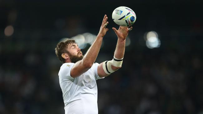 Geoff Parling of England catches the ball at Manchester City Stadium.