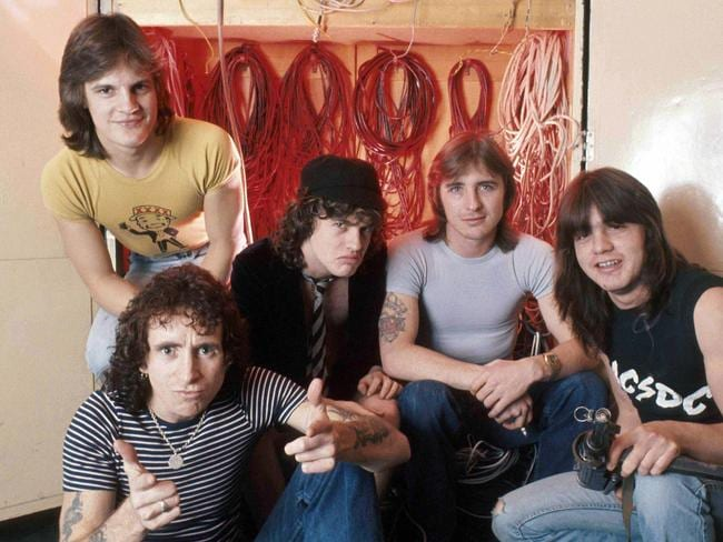 AC/DC in 1976 - Mark Evans, Mark Evans, Bon Scott, Angus Young, Phil Rudd & Malcolm Young. Pic: Scope Features