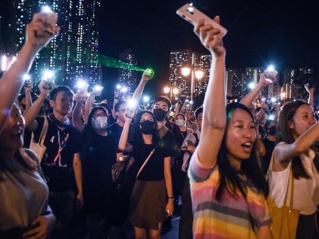 Thousands of Hong Kongers held rallies rejecting calls by the city's pro-Beijing leader to end their movement. Picture: AFP