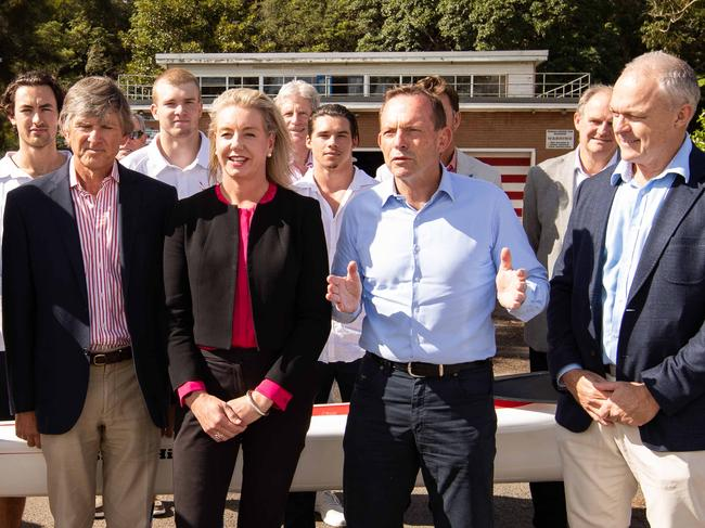Former PM Tony Abbott seemed to have no issue accepting a grant for Mosman Rowing Club in his electorate from then sports minister Bridget McKenzie in April last year. Picture: Julian Andrews/AAP