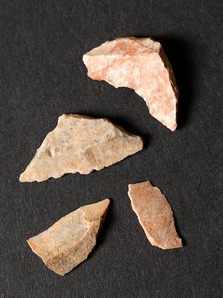 Stone tool fragments found. Picture: Calum Robertson