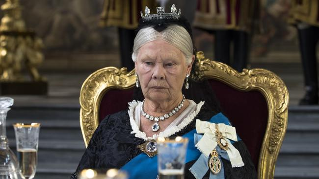 Judi Dench goes for broke as Queen Vic. Look at that jowl placement! The bags under the eyes! The perma-pout!