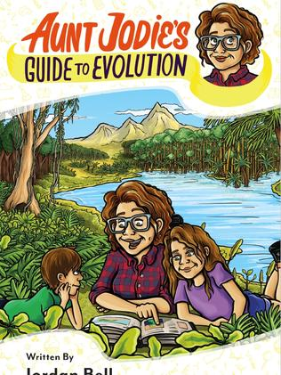 "Cover of ""Aunt Jodie's Guide to Evolution"" by Dr Jordan Bell with illustrations by Gabriel Cunnett."