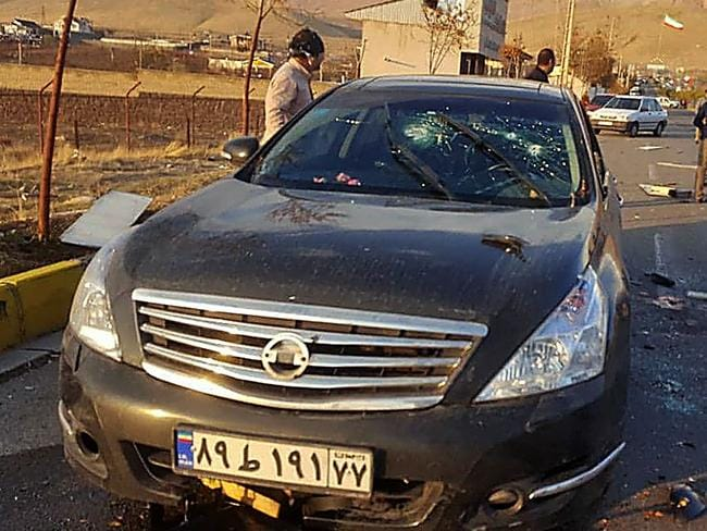 A photo made available by Iran state TV (IRIB) on November 27 shows the damaged car of Iranian nuclear scientist Mohsen Fakhrizadeh. Picture: IRIB News Agency / AFP