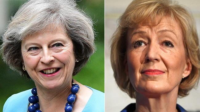 Theresa May (left) is now Britain's PM-in-waiting following her main rival, Andrea Leadsom, pulling out of the race to lead the UK's Conservative Party. Picture: AFP