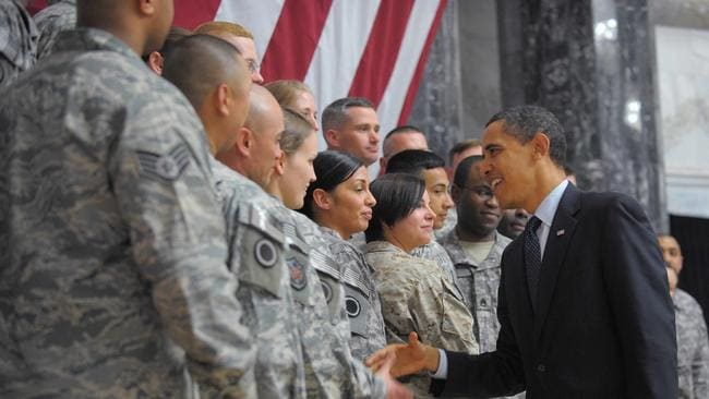 Barack Obama visited troops several times during his presidency.