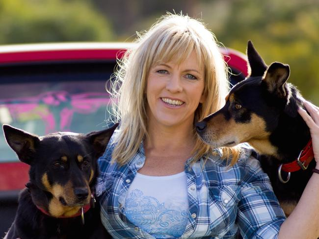 Author Rachael Treasure and Casterton Kelpie Bagala Connie on the left bred by Ian O'Connell and Tasmanian-bred Kelpie Rousie.