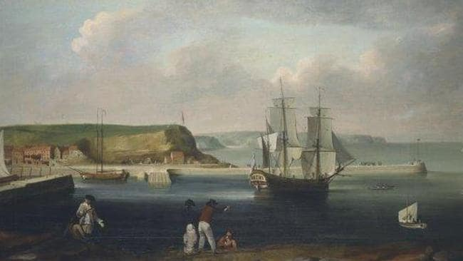 Earl of Pembroke, later HMS Endeavour, leaving Whitby Harbour in 1768. Painting: Thomas Luny, 1790.