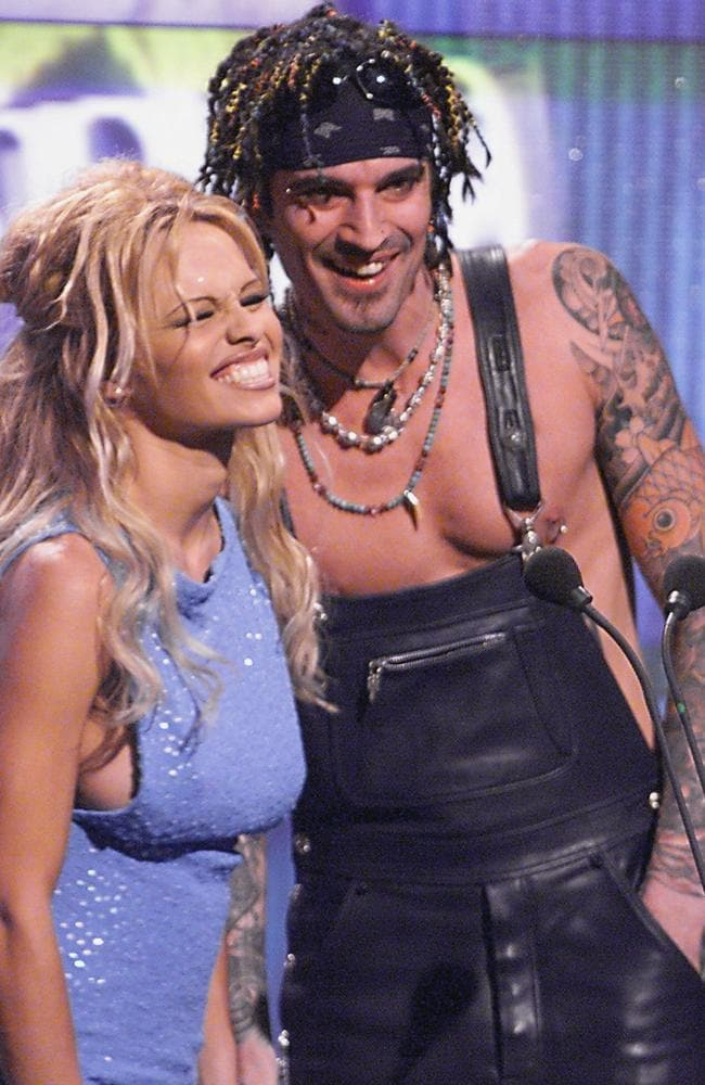 Pamela Anderson with Tommy Lee at World Music Awards in Monaco, 1999.