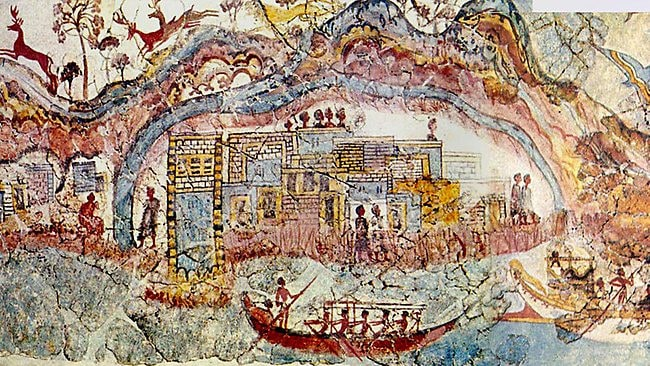 A fresco found in an ancient Minoan house at Akrotiri, showing a procession of boats to the island with what appears to be a major palace complex built upon a central volcanic dome. Source: Supplied