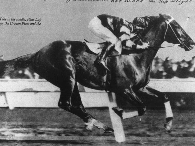 In 1929 with Jim Pike in the saddle, Phar Lap won the AJC Derby, the Craven Plate and Victorian Derby.