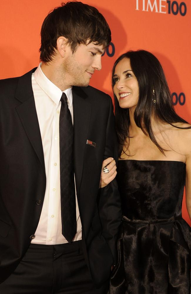 Ashton Kutcher and Demi Moore attending Time's 100 Most Influential People in 2010. Picture: AFP/Timothy A. Clary