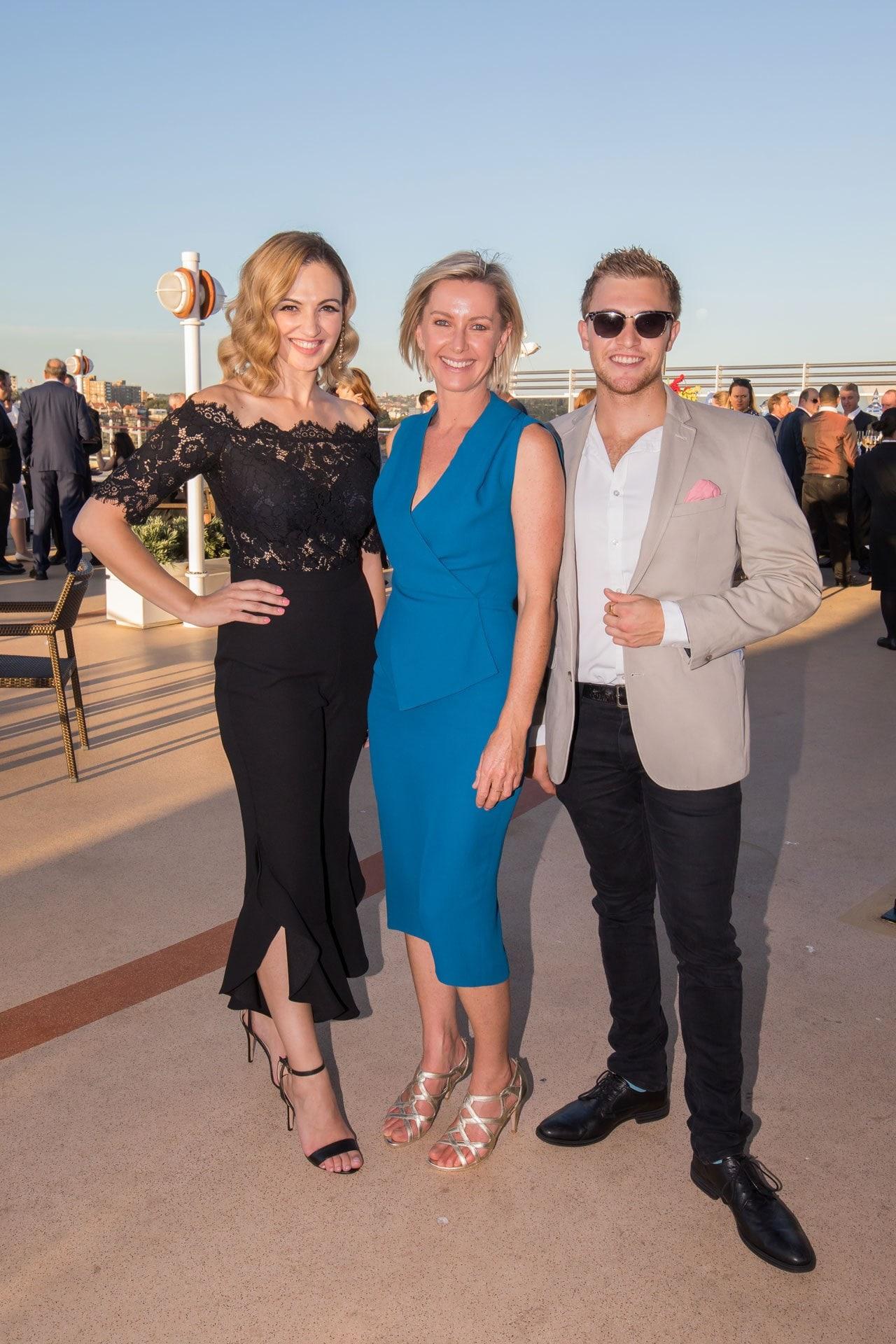 Daniella Boutros, Deborah Knight and Josh Del Pozo on-board the Queen Elizabeth