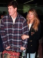 Businessman James Packer & girlfriend model Jennifer Flavin at Sydney Airport on her arrival this morning. 12 August 1994.