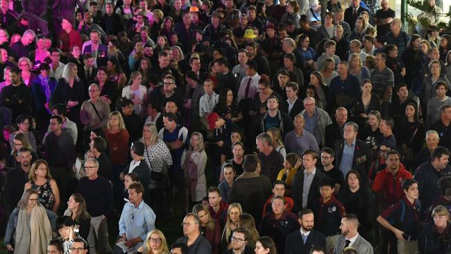 Crowds are seen during the Anzac Day dawn service at the Shrine of Remembrance in Anzac Square in Brisbane. Picture: AAP
