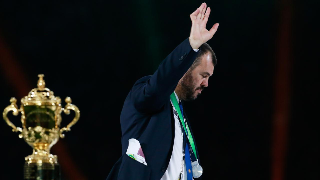 Michael Cheika waves to the crowd following defeat in the 2015 Rugby World Cup Final.