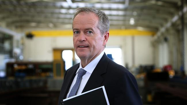 Bill Shorten meeting workers at BM Webb Construction in Townsville. Picture: Kym Smith