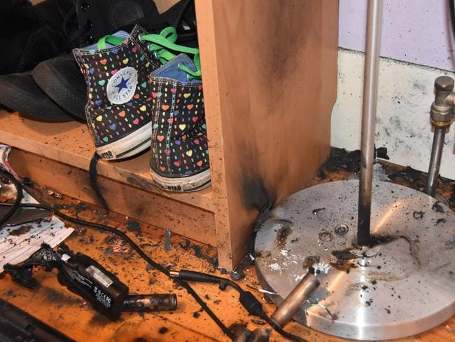 It also scorched a lamp, book case and the wall. Source: MFB