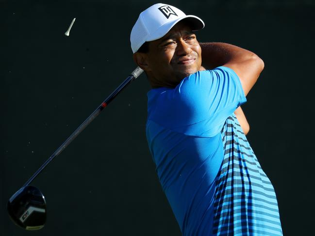 Tiger Woods hits a tee shot during practice at Shinnecock. Picture: Getty Images